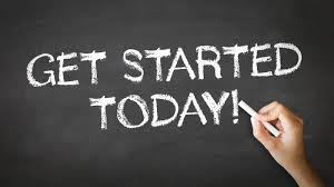 Get started today black chalk